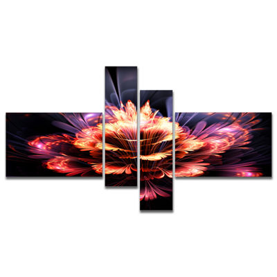 Designart Fractal Flower Orange And Purple Multipanel Floral Art Canvas Print - 4 Panels