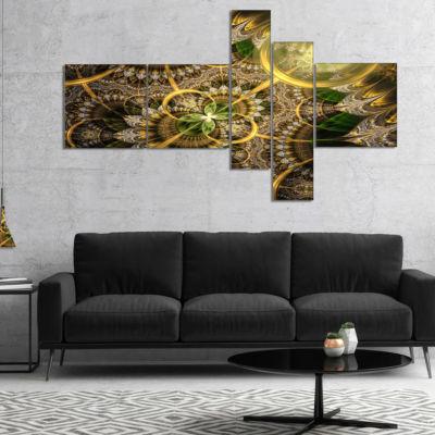 Designart Dark Green And Gold Fractal Flower Multipanel Floral Canvas Art Print - 5 Panels