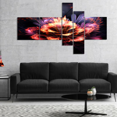 Designart Fractal Flower Orange And Purple Multipanel Floral Art Canvas Print - 5 Panels