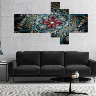 Designart Dark Purple Fractal Flower Multipanel Floral Art Canvas Print - 4 Panels