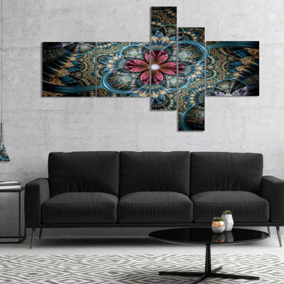 Designart Dark Purple Fractal Flower Multipanel Floral Art Canvas Print - 5 Panels