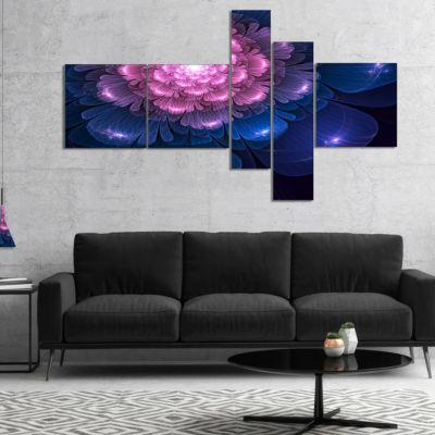 Designart Fractal Flower Pink And Blue MultiplanelFloral Art Canvas Print - 4 Panels