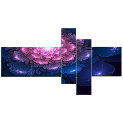 Designart Fractal Flower Pink And Blue MultipanelFloral Art Canvas Print - 5 Panels