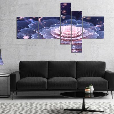 Designart Fractal Flower Pink And Gray MultiplanelFloral Art Canvas Print - 5 Panels