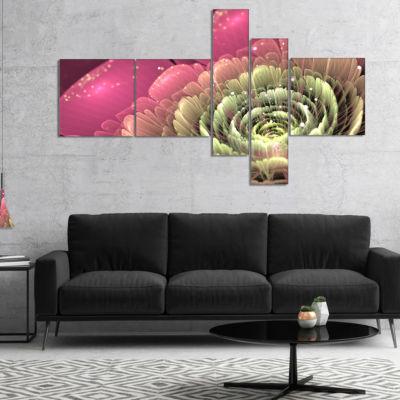 Designart Fractal Flower Pink And Green Multiplanel Floral Art Canvas Print - 4 Panels