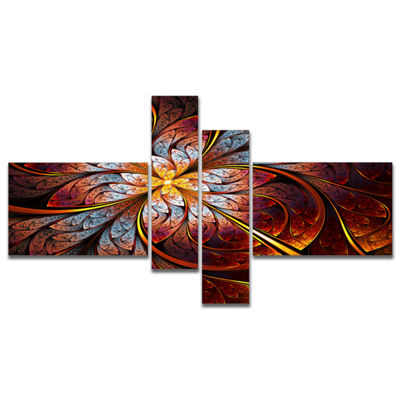 Designart Fractal Flower Red And Blue MultiplanelFloral Art Canvas Print - 4 Panels