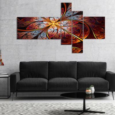 Designart Fractal Flower Red And Blue MultiplanelFloral Art Canvas Print - 5 Panels