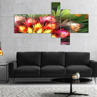 Designart Fractal Flower Red And Green MultipanelFloral Art Canvas Print - 4 Panels
