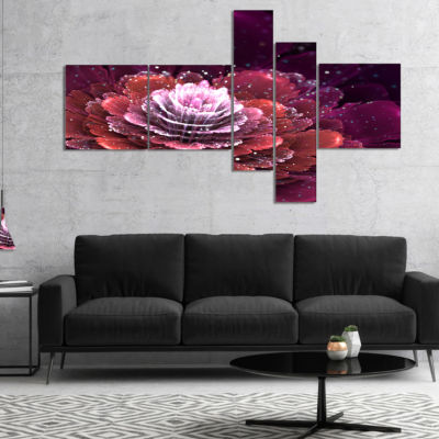 Designart Fractal Flower Red And White MultiplanelFloral Art Canvas Print - 5 Panels
