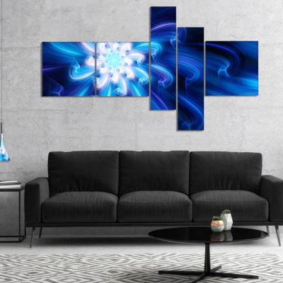 Designart Exotic Blue Flower Dance Of Petals Multipanel Floral Canvas Art Print - 4 Panels
