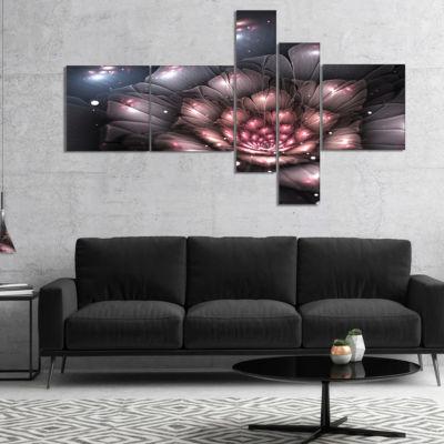 Designart Fractal Flower With Pink Details Multipanel Floral Art Canvas Print - 4 Panels