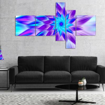 Designart Exotic Blue Flower Petals Multipanel Floral Canvas Art Print - 4 Panels