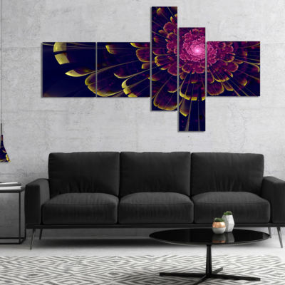 Designart Fractal Flower With Yellow Details Multipanel Floral Art Canvas Print - 5 Panels