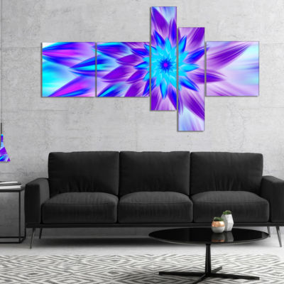 Designart Exotic Blue Flower Petals Multipanel Floral Canvas Art Print - 5 Panels