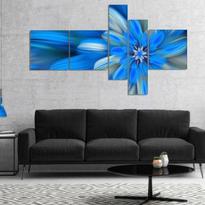 Designart Exotic Dance Of Blue Flower Petals Multipanel Floral Canvas Art Print - 5 Panels