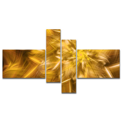 Designart Exotic Dance Of Golden Flower Petals Multipanel Floral Canvas Art Print - 4 Panels