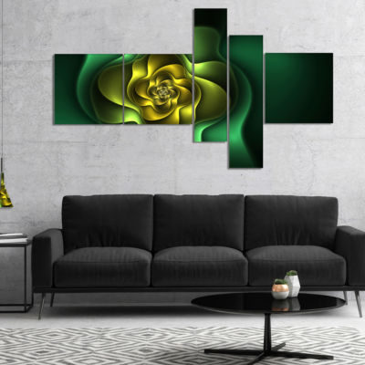 Designart Fractal Green Flower On Black Multiplanel Floral Canvas Art Print - 5 Panels