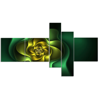 Designart Fractal Green Flower On Black MultipanelFloral Canvas Art Print - 5 Panels