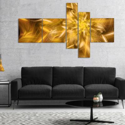 Designart Exotic Dance Of Golden Flower Petals Multipanel Floral Canvas Art Print - 5 Panels
