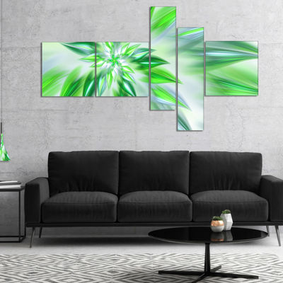 Designart Exotic Dance Of Green Petals MultiplanelFloral Canvas Art Print - 5 Panels
