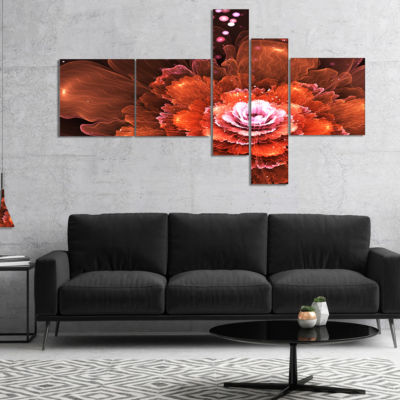 Designart Fractal Orange Flower Multipanel FloralArt Canvas Print - 5 Panels