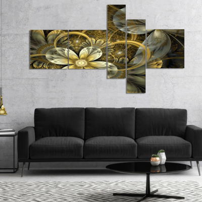 Designart Fractal Orange Yellow Flowers MultipanelFloral Art Canvas Print - 4 Panels