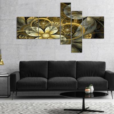 Designart Fractal Orange Yellow Flowers Multiplanel Floral Art Canvas Print - 5 Panels