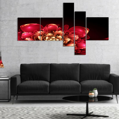 Designart Fractal Pink Flower Multipanel Floral Art Canvas Print - 4 Panels