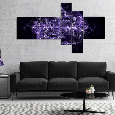 Designart Fractal Purple Flower Explosion Multipanel Floral Canvas Art Print - 4 Panels