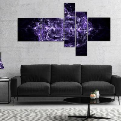 Designart Fractal Purple Flower Explosion Multipanel Floral Canvas Art Print - 5 Panels