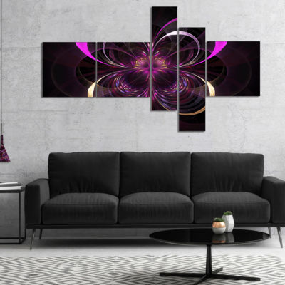 Designart Fractal Purple Flower In Dark Multiplanel Floral Canvas Art Print - 5 Panels