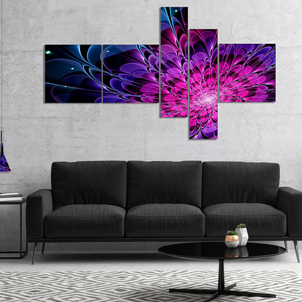 Designart Fractal Purple Rose Flower Multipanel Floral Art Canvas Print - 4 Panels