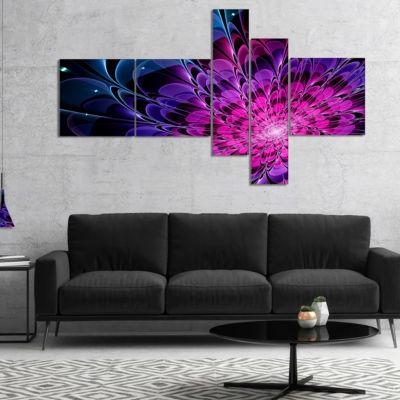 Designart Fractal Purple Rose Flower Multipanel Floral Art Canvas Print - 5 Panels
