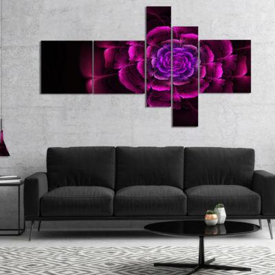 Designart Fractal Purple Rose In Dark MultiplanelFloral Canvas Art Print - 4 Panels