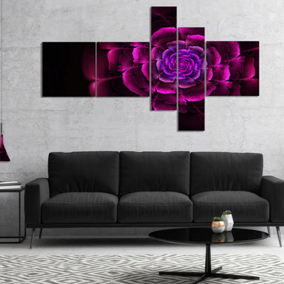 Designart Fractal Purple Rose In Dark MultiplanelFloral Canvas Art Print - 5 Panels