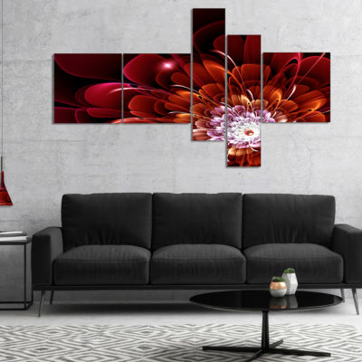Designart Fractal Red And Yellow Flower Multiplanel Floral Art Canvas Print - 5 Panels