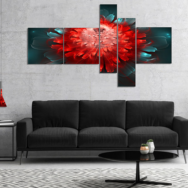 Designart Fractal Red N Blue Flower Multipanel Floral Art Canvas Print - 5 Panels