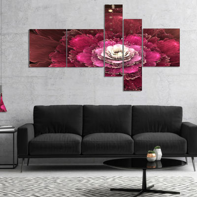 Designart Fractal Red Rose Flower Multipanel Floral Art Canvas Print - 5 Panels
