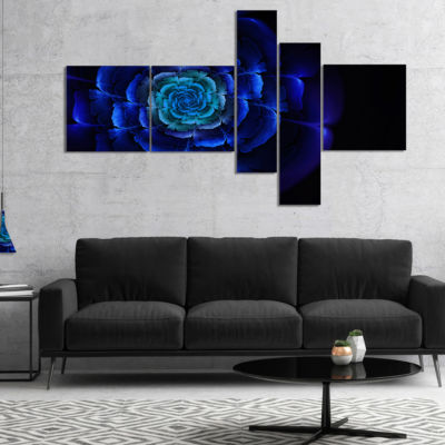 Designart Fractal Silver Blue In Dark MultiplanelFloral Canvas Art Print - 4 Panels