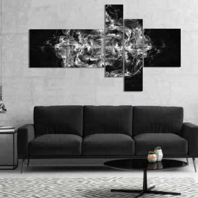 Designart Fractal Silver Flower Explosion Multipanel Floral Art Canvas Print - 4 Panels