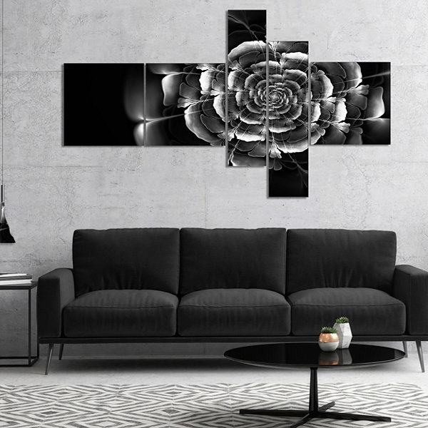 Designart Fractal Silver Rose In Dark MultiplanelFloral Canvas Art Print - 4 Panels