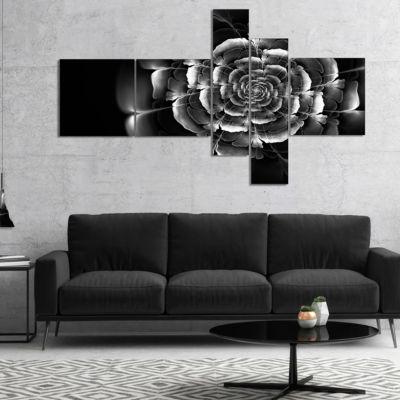 Designart Fractal Silver Rose In Dark Multipanel Floral Canvas Art Print - 5 Panels