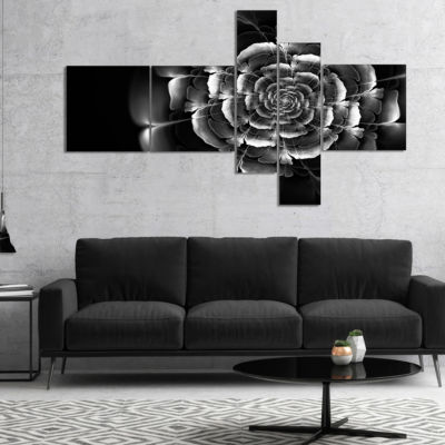 Designart Fractal Silver Rose In Dark MultiplanelFloral Canvas Art Print - 5 Panels