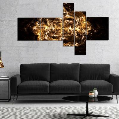 Designart Fractal Yellow Flower Explosion Multipanel Floral Art Canvas Print - 5 Panels