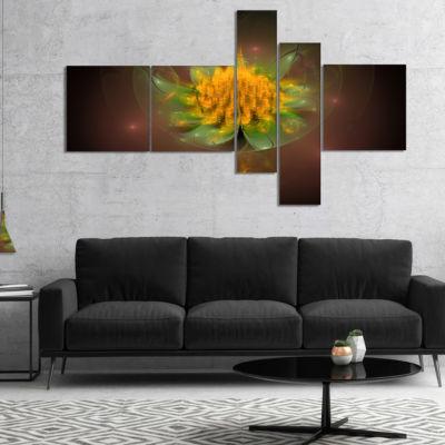 Designart Fractal Yellow Flower On Black Multipanel Floral Canvas Art Print - 4 Panels