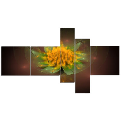 Designart Fractal Yellow Flower On Black Multipanel Floral Canvas Art Print - 5 Panels