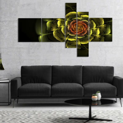 Designart Fractal Yellow Rose In Dark MultiplanelFloral Canvas Art Print - 5 Panels