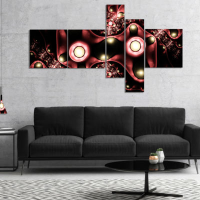Designart 3D Surreal Brown Illustration Multiplanel Floral Canvas Art Print - 5 Panels