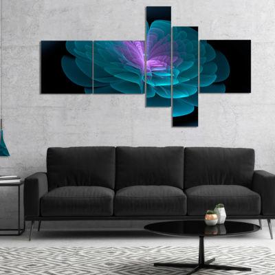 Designart Abstract Blue Floral Fractal BackgroundMultipanel Extra Large Floral Wall Art - 4 Panels