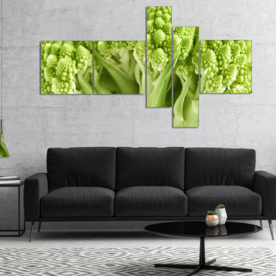 Designart Fresh Green Romanesco Florets Multiplanel Floral Canvas Art Print - 4 Panels